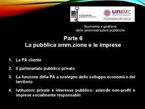 Economia e gestione delle amministrazioni pubbliche Parte 6