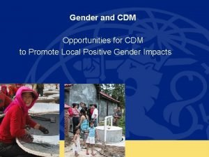 Gender and CDM Opportunities for CDM to Promote