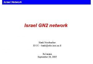 Israel Network 1 Israel GN 2 network Hank