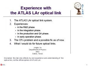 Experience with the ATLAS LAr optical link 1