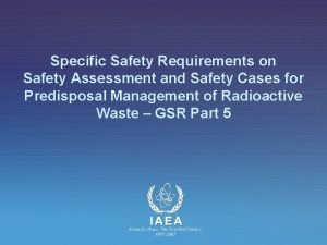 Specific Safety Requirements on Safety Assessment and Safety