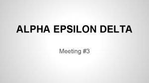 ALPHA EPSILON DELTA Meeting 3 Speaker tonight Dr