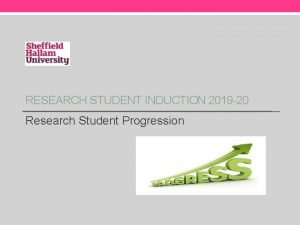 RESEARCH STUDENT INDUCTION 2019 20 Research Student Progression