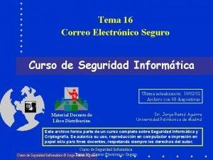 Tema 16 Correo Electrnico Seguro Curso de Seguridad