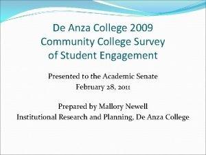 De Anza College 2009 Community College Survey of