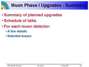 Muon Phase I Upgrades Summary Summary of planned