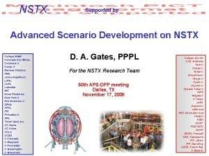 NSTX Supported by Advanced Scenario Development on NSTX