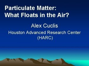 Particulate Matter What Floats in the Air Alex