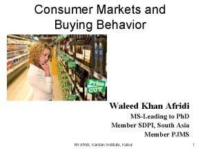 Consumer Markets and Buying Behavior Waleed Khan Afridi