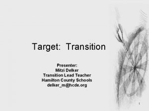 Target Transition Presenter Mitzi Delker Transition Lead Teacher