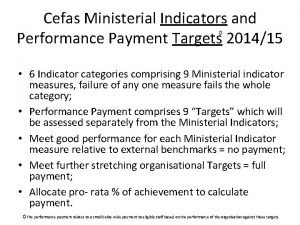 Cefas Ministerial Indicators and Performance Payment Targets 201415