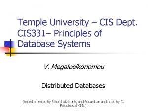 Temple University CIS Dept CIS 331 Principles of
