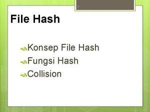 1 File Hash Konsep File Hash Fungsi Hash
