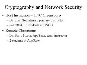 Cryptography and Network Security Host Institution UNC Greensboro
