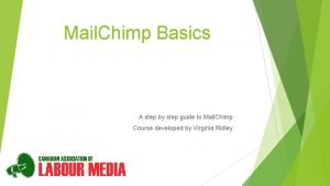 Mail Chimp Basics A step by step guide