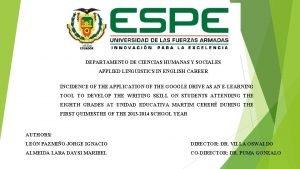 DEPARTAMENTO DE CIENCIAS HUMANAS Y SOCIALES APPLIED LINGUISTICS