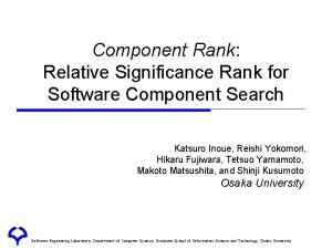 Component Rank Relative Significance Rank for Software Component