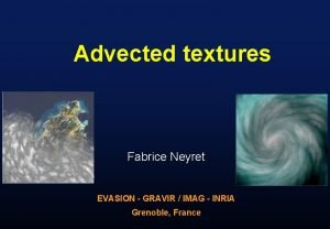 Advected textures Fabrice Neyret EVASION GRAVIR IMAG INRIA