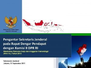 Kementerian Dalam Negeri Republik Indonesia Pengantar Sekretaris Jenderal