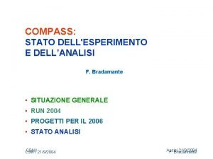 COMPASS STATO DELLESPERIMENTO E DELLANALISI F Bradamante SITUAZIONE