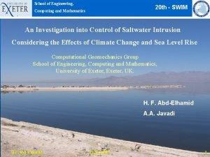 School of Engineering 20 th SWIM Computing and