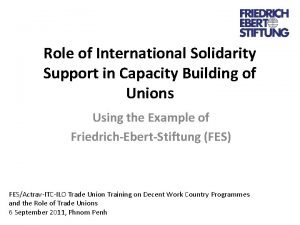 Role of International Solidarity Support in Capacity Building
