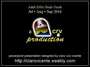 Adult Bible Study Guide Jul Aug Sep 2016