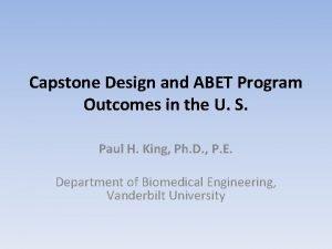 Capstone Design and ABET Program Outcomes in the