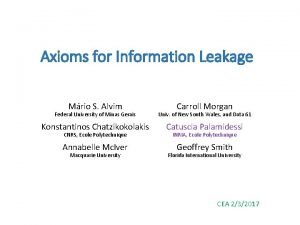 Axioms for Information Leakage Mrio S Alvim Carroll