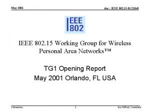 May 2001 doc IEEE 802 15 01210 r