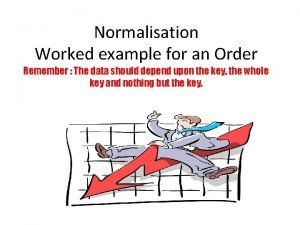 Normalisation Worked example for an Order Remember The