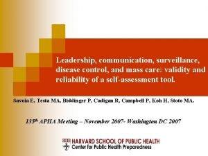 Leadership communication surveillance disease control and mass care