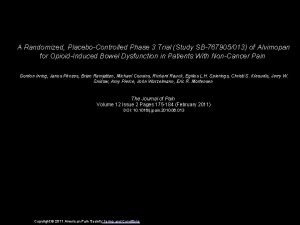 A Randomized PlaceboControlled Phase 3 Trial Study SB767905013