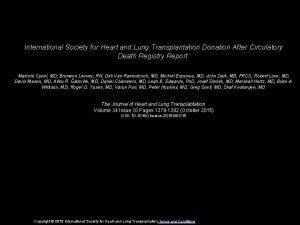 International Society for Heart and Lung Transplantation Donation