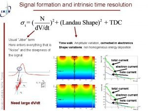 Signal formation and intrinsic time resolution Usual Jitter