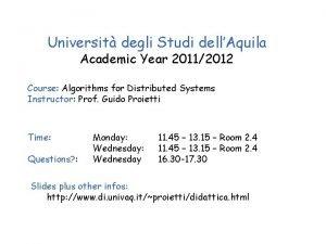 Universit degli Studi dellAquila Academic Year 20112012 Course