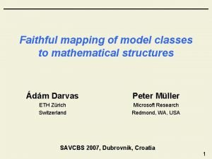 Faithful mapping of model classes to mathematical structures
