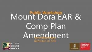 Public Workshop Mount Dora EAR Comp Plan Amendment