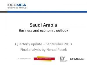 Saudi Arabia Business and economic outlook Quarterly update