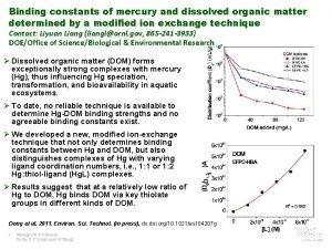 Binding constants of mercury and dissolved organic matter