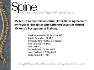 Supplemental Power Point Slides Mc Kenzie Lumbar Classification