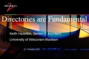 Directories are Fundamental Keith Hazelton Senior IT Architect