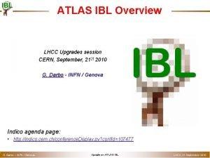 o ATLAS IBL Overview LHCC Upgrades session CERN