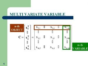 MULTI VARIATE VARIABLE nth OBJECT mth VARIABLE 1