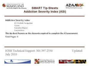 SMART Tip Sheets Addiction Severity Index ASI INSTITUTE