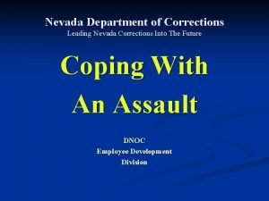 Nevada Department of Corrections Leading Nevada Corrections Into
