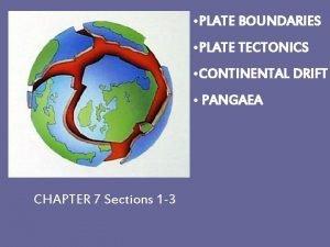 PLATE BOUNDARIES PLATE TECTONICS CONTINENTAL DRIFT PANGAEA CHAPTER