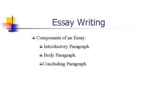 Essay Writing Components of an Essay Introductory Paragraph