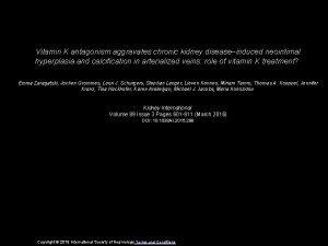 Vitamin K antagonism aggravates chronic kidney diseaseinduced neointimal