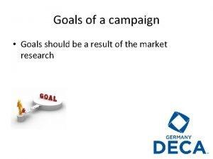 Goals of a campaign Goals should be a